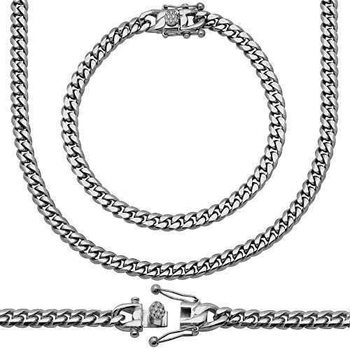 Sterling Manufacturers Premium Stainless Steel Heavy Solid Miami Cuban Link Chain. Secure Box Lock. (22.00, - Box 6mm Chain