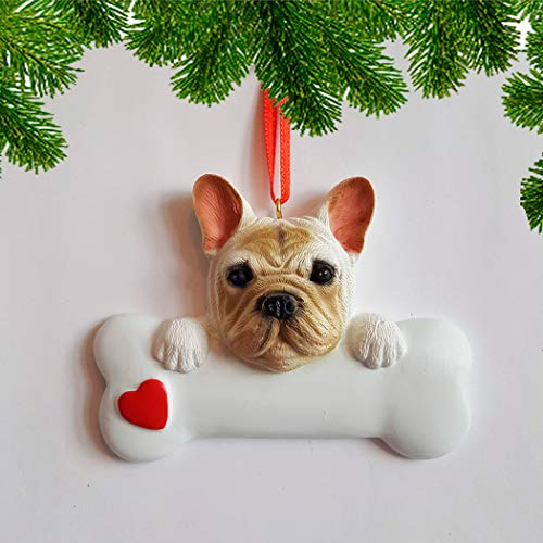 Personalized French Bulldog Christmas Tree Ornament 2019 - Frenchie Dog Paw Bone Heart Small Loyal Gentle Best Friend Furever Playful Athletic Fluffy White Cream- - Free Customization