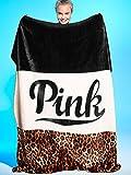 Victoria Secret Pink Best Deals - Victoria's Secret PINK Plush Sherpa Blanket in Leopard Logo Colorblock by Victoria's Secret