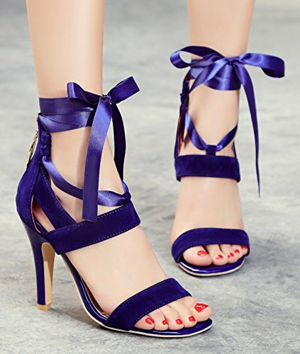 Aisun Mujeres Strappy Sexy Open Toe Dressy Zip Up Self Tie Stiletto Sandalias De Tacón Alto Del Tobillo Con Cremallera Royal Blue