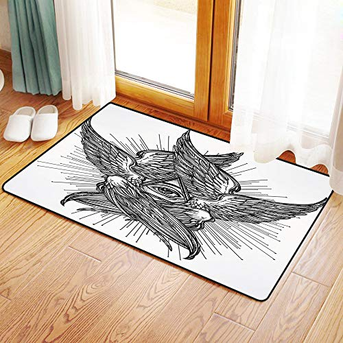 Non-Slip Mat Microfiber Bathroom Rug Shower Mat, Eye,All Seeing Eye of Providence Hand Drawn Vintage Style Wing, Ultra Soft and Water Absorbent Bath Rug,Machine Wash/Dry 20x 31 inches
