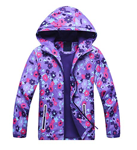 Jingle Bongala Kids' Boys' Girls' Outdoor Waterproof Fleece Jacket with Hood Coat Climbing Hiking Windbreaker-PurpleFloral-130