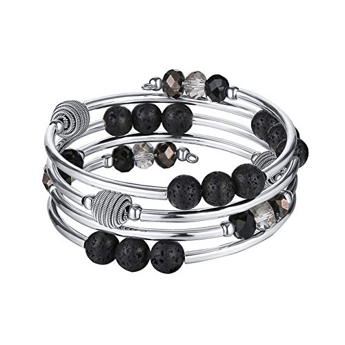 Around Pearl Wrap (Pearl&Club Bead Crystal Wrap Bangle Bracelet - Fashion Jewelry Beaded Bracelet with Silver Metal, Gifts for Women (Lava Bead))