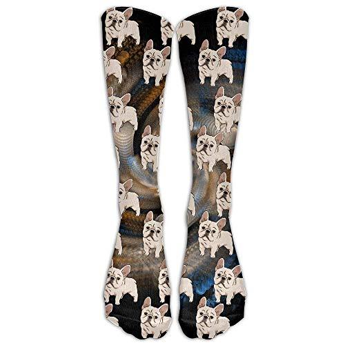 French Chair High (French Bulldog Unisex Novelty Premium Calf High Athletic Socks Fashional Tube Stockings Size 6-10)