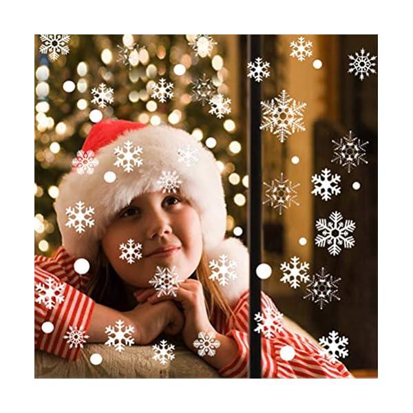 Adesivo Fiocco di Neve per finestre, 108 Natale Vetrofanie Rimovibile Adesivi Murali Finestra Decorazione Fiocco di Neve Decorazioni Natalizie Fai da Te Sticker Decorativi da Finestra 5 spesavip