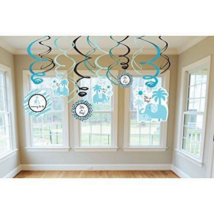 Amscan Sweet Safari Boy Swirl Baby Shower Party Room Decoration, 18'', Pack of 36