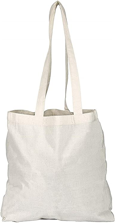 Pack of 135102550100 Plain Natural Cotton Shopping Tote Bags Eco Friendly Shoppers