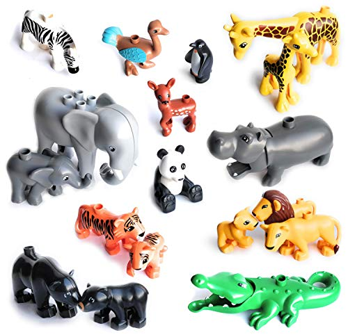 Aliris 18 Zoo Animals and 5 Fences - Wild Jungle Savanna Forest Park Around The World - Compatible with ()