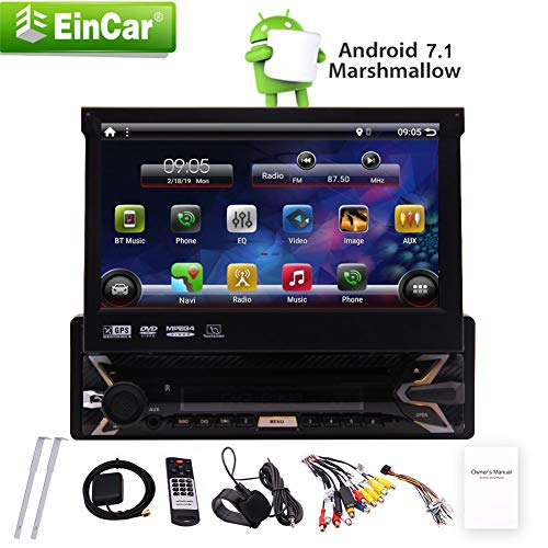 (Android 7.1 Operating system Single Din with 7 Inch HD capacitive touch screen 1024600p High resolution 7 Color LED backlight 1.2G Quad Core Build-in WIFI Rear view camera input Steering wheel cont)