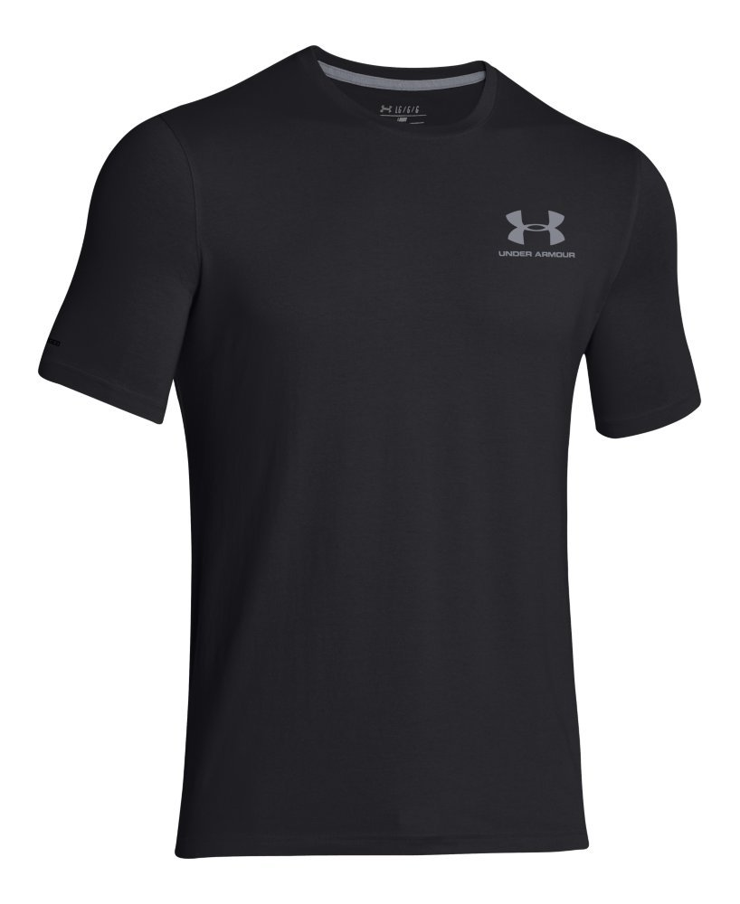 Under Armour Men's Charged Cotton Left Chest Lockup T-Shirt, Black /Steel, Small by Under Armour (Image #4)