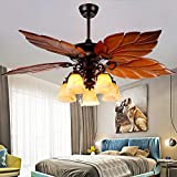 AndersonLight Wood Ceiling Fan Light 5 Blades 5 Lights Wooden Palm Leaf Fan Light Lamp, Tropical Indoor / Outdoor Large Quiet Ceiling Fan Chandelier, Home Remote Rustic Ceiling Fan, Bronze, 52 Inch