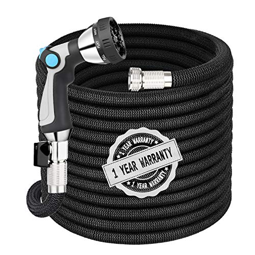 Garden Hose Expandable Hose 50FT, Flexible Water Hose with Spray Nozzle, Car Wash Hose with Solid Brass Connector, Kink Free Expanding Garden Hose for Watering and Washing