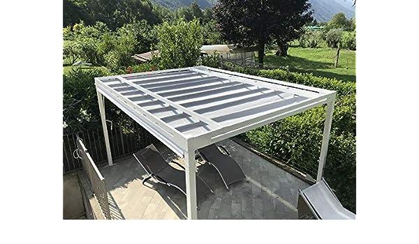 QEEQ.IT - Pérgola Blanca retráctil 4 x 3 - Estructura Antracita - Lona Gris Aluminio: Amazon.es: Jardín