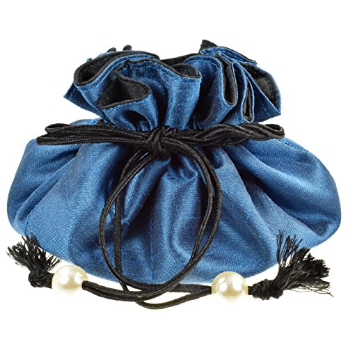 Drawstring Jewelry Pouch, Poly Dupioni Silk, Blue + Black ()