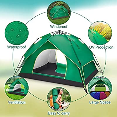 """BATTOP 2-3 Person Tent for Camping Instant Pop Up Tents 4 Season Backpacking Tent for Outdoor 90.55"""" L x78.74 W x53.15 H"""