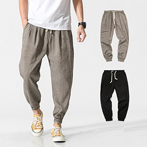 Ete Juleya Lin Couleur Solide Pantalon Avec Léger 4 Plage Pantalons Respirant Loisirs Lâche De Gris En 3 Longueur Poches Hommes Homme Confortable qqErB