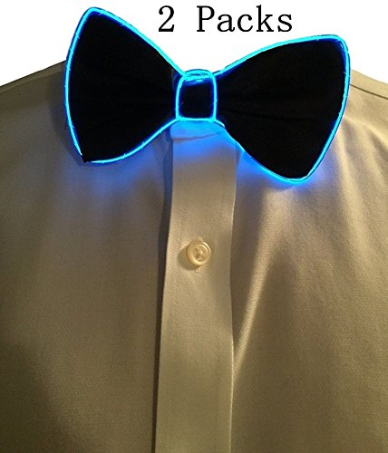 YB-OSANA 2 Packs GlowIing Bowtie LED Bow Tie Christmas Costume Accessory Chrstmas Gift for Adult for New Years/Christmas Gift/Rave Party Burning Man Light Up BowTie LED Light Bow Tie (Blue)