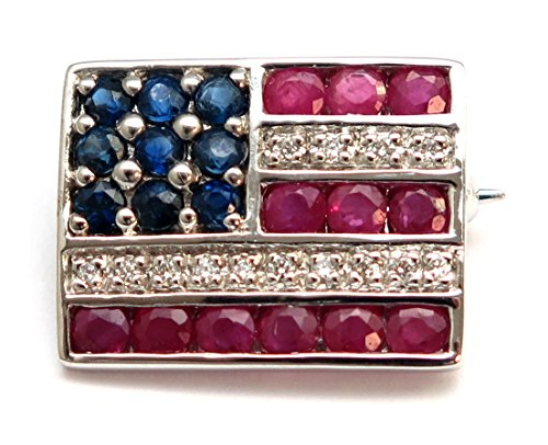 Precious American Flag Lapel Pin in 14K Solid White Gold with Genuine Ruby, Sapphire and Diamond (14k Pin Gold)