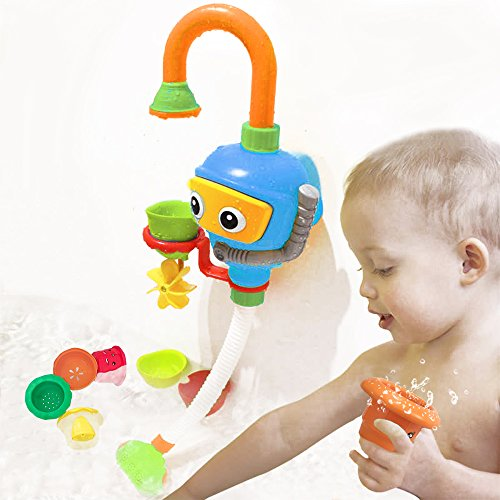 Baby Bathtub Toy Diver Game - Happytime New Design Water Toys 3 Stackable and Nesting Cups, Submarines and Spout (No Batteries Required and Color in random)