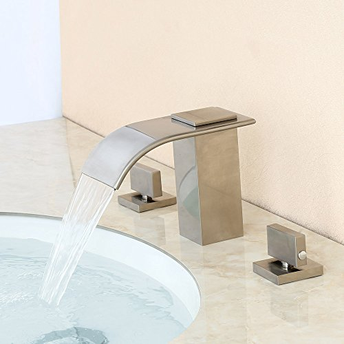 Lovedima Milly Waterfall Modern Widespread Bathroom Sink Faucet Basin Mixer Tap Solid Brass in Brushed NickelORB Brushed nickel