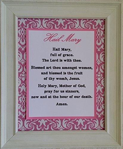Hail Mary - Framed Inspirational Catholic Prayer- Gift for Priest, Nun, Deacon, and Person of Faith