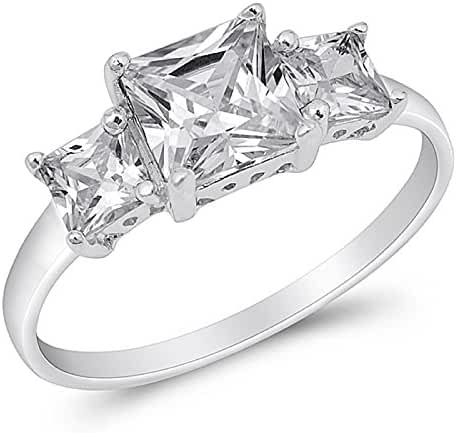 Princess Cut Cubic Zirconia Three Stones Ring Sterling Silver (Sizes 3-15)