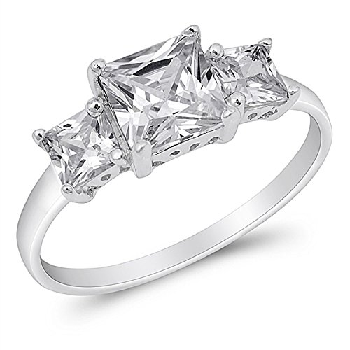 Princess Cut Cubic Zirconia Three Stones Ring Sterling Silver Size 7