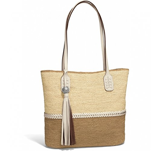 - Brighton Parma Large Natural Raffia & Leather Tote Purse