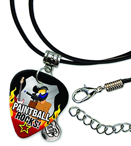 Paintballing Paintball Rock Guitar Pick Leather Cord Necklace (R1)
