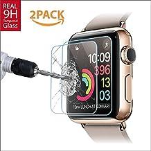 Amazingforless Premium [2 Pack] 38mm Apple Watch Anti-Scratch Tempered Glass Screen Protector
