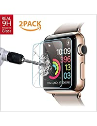 38mm [2 Pack] Apple Watch Screen protector for Series 1, 2 & 3, Amazingforless Premium Anti-Scratch Tempered Glass Screen protector [Only Covers the Flat Area]