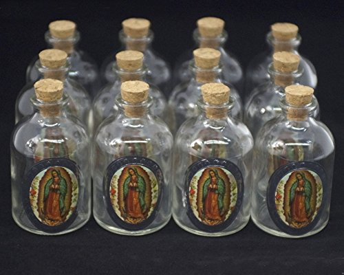 "Ben Collection 3"" Decorative Round Glass Bottle with Cork Top - Set of 12 bottles (Our Lady of Guadalupe)"