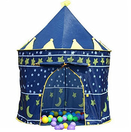 Boy Knight's Castle Hut Ball Pit Indoor&outdoor Pop Up Kids Playhouse Tent - Blue by Mallya