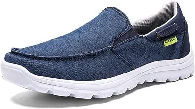 Gaatpot Hombre Zapatos de Lona Mocasines Verano Sneaker Zapatos de Cubierta Casual Canvas Ponerse Zapatillas de Deporte Azul 38EU-47CN