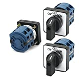 uxcell 600V 25A 2-Pole 3-Position Momentary Square Changeover Switch 3Pcs