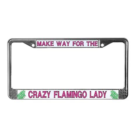 Amazon.com: CafePress - Crazy Flamingo Lady License Plate Frames ...