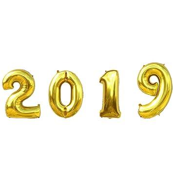 Nuolux 40 Pulgadas Jumbo 2019 Foil Globos Gold Number 2019 Globos