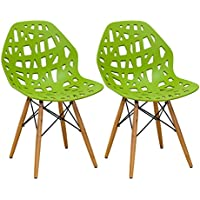 Mod Made Modern Stencil Cut Out Eiffel Dining Side Chair (Set of 2), Lime