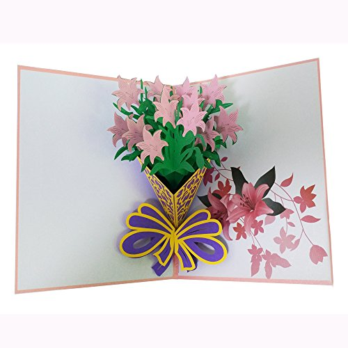 Pink Lily Bouquet Pop up Card Handmade 3D Greeting Card Flower Birthday Card Mother's Day Card Thank You Card Wedding Aniversary Valentioe's Day Graduation ()