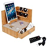 G.U.S. ''Zen'' Eco-Friendly Bamboo Corner Multi-Device Charging and Sunglass Station with Drawer & 4-Port USB Power Strip