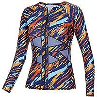 axesea Mujeres Manga Larga Rashguard UPF 50+ Protección Solar UV con cierre frontal traje de baño Camisa Printed Surf camisa parte superior 3Color/6sizes
