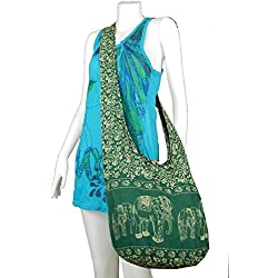 Beautiful Elephant Prints Dark Green Hippie Shoulder Bag Tote Purse Cotton Bag Shipping From Thailand