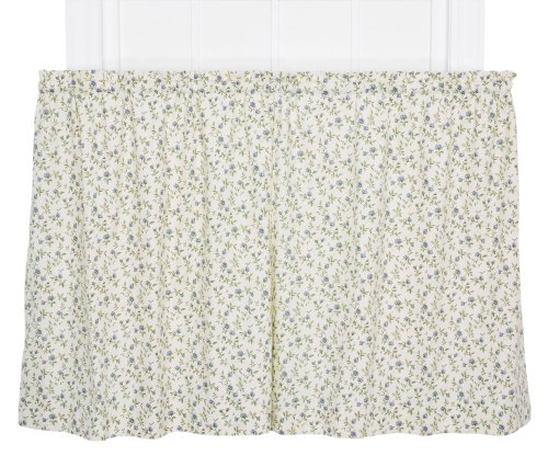 (Ellis Curtain Marcia Floral Vine Print Tailored Tier Pair Curtains, 68 by 24-Inch, Blue )
