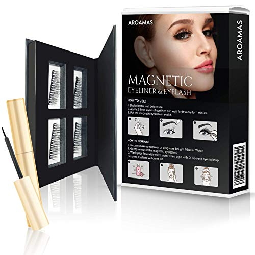 Aroamas Magnetic Eyeliner And Eyelashes - Natural Look - 2 Pairs - Easy-to-Use - No Glue Needed - Reusable
