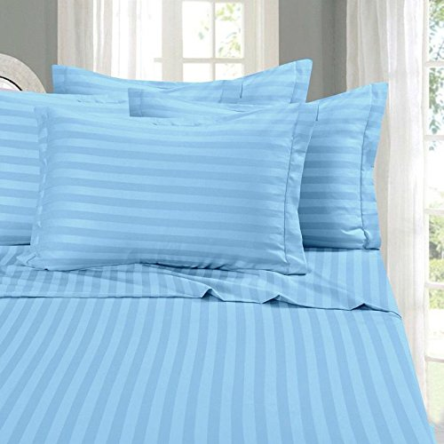 Fab Linens 100% brushed microfiber 1800 series bed sheet set with matching pillowcase, SATISFACTION GAURANTEED - Stripe 4pc Sheet Set Queen Sleeper Sofa Bed Blue