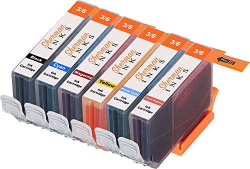 Sherman Replacement Ink Cartridge 6 Pack BCI6 for Printer: Canon BJC-8200 PIXMA iP6000D S800 S820 S820D S830D S900 S9000 i900D i9100 i950 i960