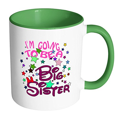 I'm Going To Be A Big Sister Mug - Love Gifts for Little Baby Elder or Big Sister Daughter Surprise Baby Gift Accent Mug