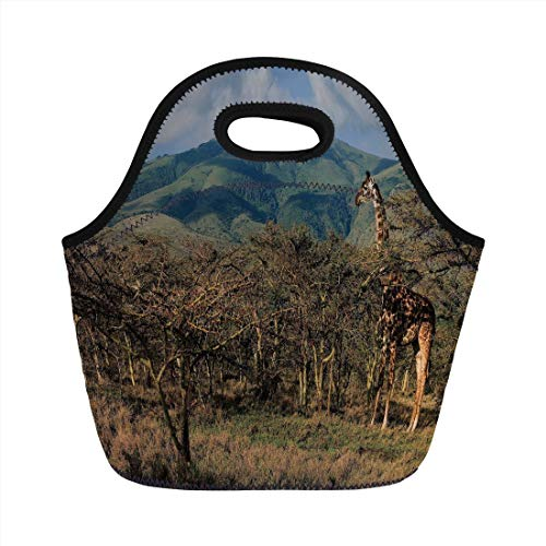 (Portable Lunch Bag,Zoo,Giraffe among Trees Prickly Acacias Grazing Mountain Africa Safari Savanna Decorative,Green Blue Light Brown,for Kids Adult Thermal Insulated Tote)