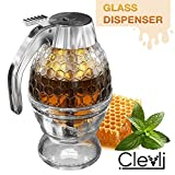 Bottom Flow Honey Dispenser No Drip Glass. 8oz for Easy Pouring of Syrup, Sugar, Sauces, Condiments. Handy Stopper in Bottom, Quick Fill