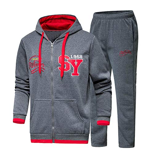 (Men's Letter Print Hooded Sweatshirt Top Pants Sets Sport Suit Tracksuit Outfit Dark)